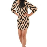 Nude & Black Chevron 3/4 Sleeve Mini Dress