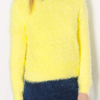 KNITTED FLUFFY CREW JUMPER