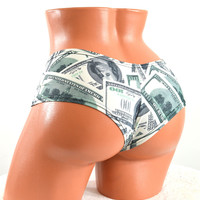 One Hundred Dollar Bill Print Ultra Cheeky Booty Shorts