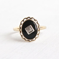 Vintage 10k Yellow Gold Onyx & Diamond Ring - Size 6 1/4 Vintage 1940s Flower Jewelry Hallmarked PSCO