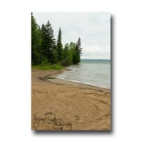 Beach Decor National Park Nature Photography Cloudy Sky Evergreen Trees Coast Lake Shore greeting card calendar