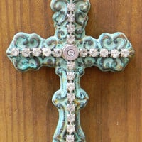 Iron Wall Cross, Shabby Chic Wall Cross, Iron Cross, Cross Wall Decor, Outlaw Glam
