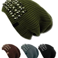 Unisex Solid Oversize Slouchy Beanie Hat with Spikes in the Front
