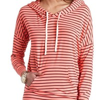 OVERSIZED STRIPED HIGH-LOW HOODIE