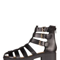 Tri-Buckle Caged Sandals - Black