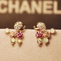 Cutie Poodle Full Rhinestone Earrings