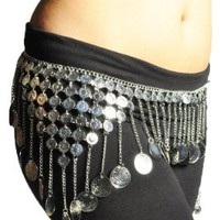Gypsy Hippie Belly Dance Silver Metal Dangling Coins Chains Belt Adjustable - #B139S