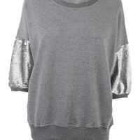 Belinda Charcoal Sequin Sleeved Sweat Top at Fashion Union