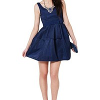 Dark Blue Sleeveless Baby Doll Mini Dress w/ Skater Skirt #blue #babydoll #minidress #formal #chic #classy #preppy #preppystyle #bridesmaid