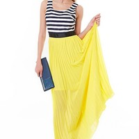 Black and White Sleeveless Stripe Dress w/ Yellow Maxi Skirt #stripes #pleated #skirt #yellow #blackandwhite #paris #chic #spring