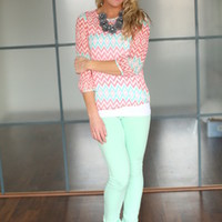 Reflected Chevron Print Blouse