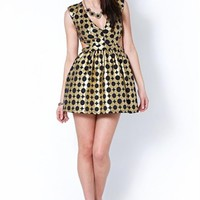 Black Sleeveless Geometric Print Dress w/ Flared Skirt #geometric #print #chic #cutouts #sexy #partydress #black #gold