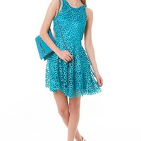 Blue Sleeveless Crochet Mini Dress #fashion #style #dress #crochet #blue #minidress #partydress #chic