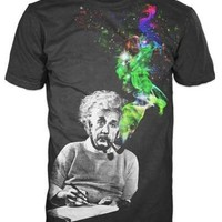 Albert Einstein Smoking Colors Men's Black T-Shirt