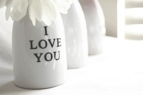 ceramic Flower Bud Vase I Love You by TimelessCreationsLLC on Etsy