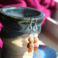 Earthwear: Natural Earrings ~ Carnelian, Epidote, Rose Quartz, & White Ocean Jade ~ Healing Gemstone Jewelry