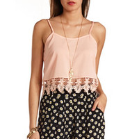 CROCHET LACE TRIM CROP TOP