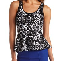 TRIBAL PRINT STRAPPY PEPLUM TOP