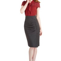 ModCloth Pinup Long Pencil A Trip into Town Skirt