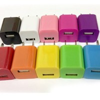 Lot 10 MIX Color Power Adapter Wall Charger for Ipod Touch Iphone 5 5s 5c 4s 4 3gs 3g
