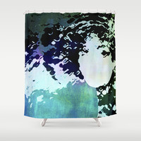 LADY-SILEX-2 Shower Curtain by Pia Schneider [atelier COLOUR-VISION] #art #azure #turquoise #face #woman #lady #showercurtain #bathroom