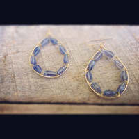 Sophisticated Earrings Faceted Iolite Gemstones Wire Wrapped on 14 KT Gold Fill Hoops