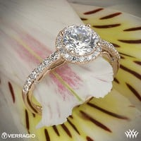 20k Rose Gold Verragio Bead-Set Halo Diamond Engagement Ring