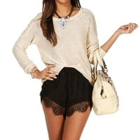 Beige Bow Back Knit Sweater