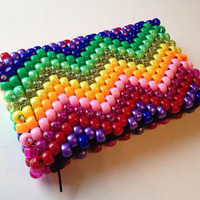 Rainbow Chevron Wallet, Kawaii Wallet, Small Zipper Pouch, Beaded Coin Purse