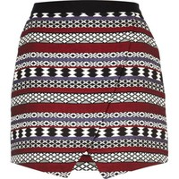 Black aztec jacquard wrap skirt - mini skirts - skirts - women
