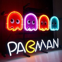 New PAC-MAN Ghost Real Glass Neon Light Sign Beer Bar Pacman Pac Man Sign L52