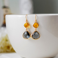 Gold Plated Topaz Black Diamond Dangle Earrings, Orange and Grey Earrings, Drop Earrings, Wedding Earrings, Bridesmaids Jewelry