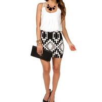 Ivory/Black Aztec Bloussant Dress