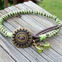 Margaritaville - Cord Bracelet in Lime GreenBohemian Hippie Summer | Angelof2onArtFire - Jewelry on ArtFire
