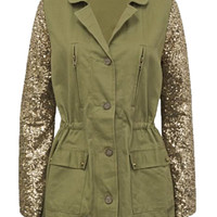 Trocadero Sequin Sleeve Jacket- Olive