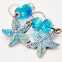 Handpainted Starfish Copper seastar and blue crystal earring