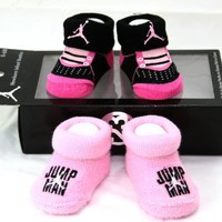 Nike Air Jordan Newborn Infant Baby Booties Socks Black and Pink w/Air Jumpman Logo  Letters, Size 0-6 Months