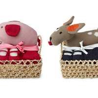 Baby Shower Basket - Toy, Hat, And Bootie Set
