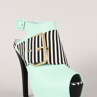 Dainty-16A Striped Peep Toe Stiletto Platform Heel
