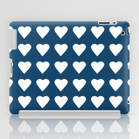 64 Hearts Navy iPad Case by Project M