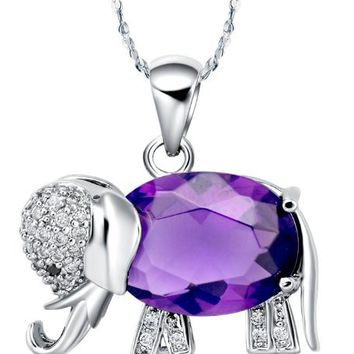 Lady Girl Lovely Sterling Silver Amethyst Elephant Pendant Long Necklace,crystal Necklace