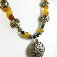 Amber Gemstones and Bali Style Sterling Silver Beaded Necklace | dianesdangles - Jewelry on ArtFire