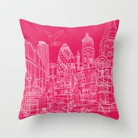 London! Hot Pink Throw Pillow by David Bushell