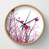 modern pink floral design  Wall Clock by Sari Klein