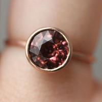 Rose Pink Tourmaline In 14K Rose Gold Ring Ready by louisagallery