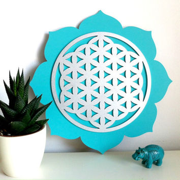 Flower of Life on Lotus Wall Plaque