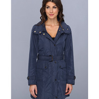 Ellen Tracy Snap Front Techno Trench with Stow Hood