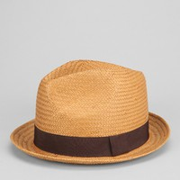 Natural Straw Banded Fedora- Brown