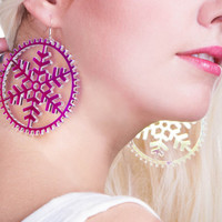 Lumi Multicolour Drop Modern Snowflake Earrings Big