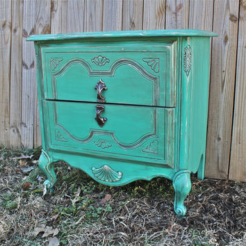Seagrass Blue French Provincial Nightstands/ Side Tables/ Bedroom Furniture Living Room Storage